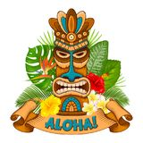 Wooden Tiki mask and signboard of bar Stock Photography