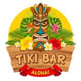 Wooden Tiki mask and signboard of bar. Tiki tribal wooden mask, tropical exotic plants and signboard of bar. Hawaiian traditional elements. Isolated on white Stock Photography