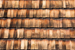 Wooden tile. Picture of house roof paved with wooden tile Royalty Free Stock Photography