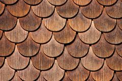 Wooden tiles. Traditionally used for wall protection in villages of canton Bern, Switzerland Royalty Free Stock Photo