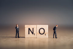 Wooden tiles with letters spelling out the word No. Business concept Stock Images