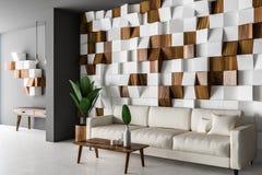 Wooden tiles living room corner, white sofa royalty free illustration