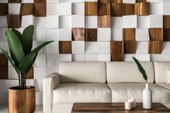 Wooden tiles living room, white sofa close up stock illustration