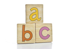 Wooden tiles - spelling A B C Stock Photo