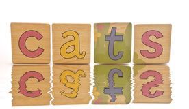 Wooden tiles - spelling CATS. Wooden tiles with the letters C A T S ( CATS royalty free stock images
