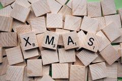 Wooden Tiles Spelling Xmas