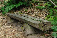 Wooden timber bench Royalty Free Stock Photo