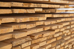 Wooden timber at a sawmill Stock Photo