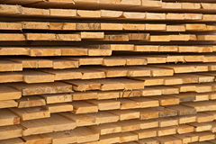 Wooden timber at a sawmill Royalty Free Stock Images