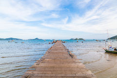 Wooden to the sea at Sattahip Stock Image