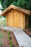 Wooden toilet. A shot of a new wooden environmentally-friendly toilet, Latvia, Europe Royalty Free Stock Photos