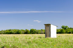 Wooden toilet in the field. Isolated wooden toilet in the flower field Royalty Free Stock Photo