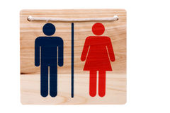 Wooden Toilet Sign Isolated. Isolated image of a wooden toilet sign Stock Images