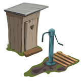 Wooden toilet and water pump, vector  Royalty Free Stock Images