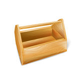 Wooden tool box isolated on white Stock Images