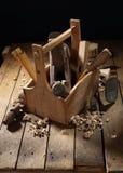 Wooden tool box stock photos