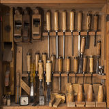 Tool Box. Wooden tool box with spattle and ploughs - Adobe RGB stock images
