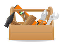 Wooden tool box vector illustration Stock Photos