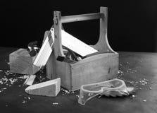 Wooden tool box stock image