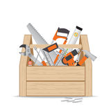 Wooden toolbox with repair and construction working tools on whi Royalty Free Stock Photos