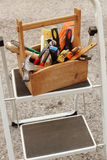 A wooden toolbox Stock Images