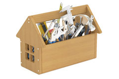 Wooden toolbox with tools Royalty Free Stock Photos