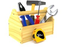 Wooden toolbox. On white background Royalty Free Stock Images