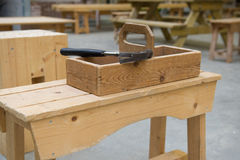 Wooden toolkit at school Stock Photo