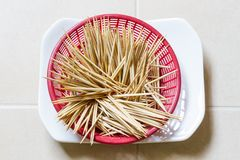 Wooden tooth picks Stock Photos