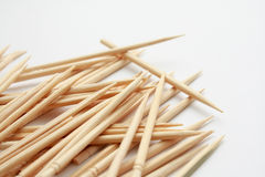 Wooden toothpicks. In a mess isolated on white background royalty free stock photography