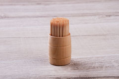 Wooden toothpicks in box. Royalty Free Stock Photography