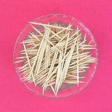 Wooden Toothpicks Dish Pink Background Stock Images
