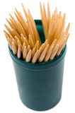 Wooden toothpicks in green container Royalty Free Stock Image