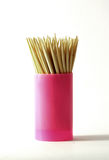Wooden toothpicks in plastic container Stock Photos