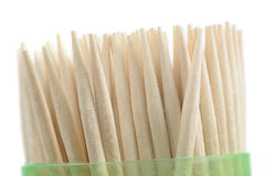 Wooden Toothpicks in Plastic Container on White Background Royalty Free Stock Image