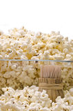 Wooden toothpicks and popcorn Royalty Free Stock Photography