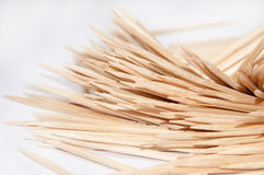 Wooden toothpicks on the white background Royalty Free Stock Image