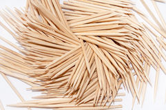 Wooden toothpicks on the white background Stock Photos