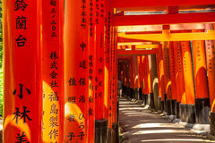Wooden Torii Gates near Kyoto, Japan Royalty Free Stock Photos