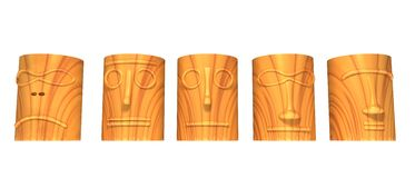 Wooden totem heads Royalty Free Stock Images