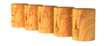 Wooden totem heads Royalty Free Stock Photos