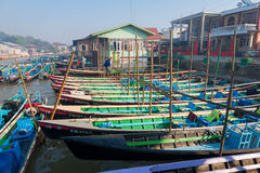 Wooden tourist boats on Inle lake, Myanmar (Burma) Stock Image