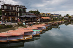 Wooden tourist boats near Uji river, Kyoto Royalty Free Stock Photo
