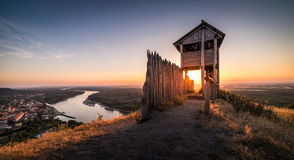 Wooden Tourist Observation Tower above a Little City with River Royalty Free Stock Photography