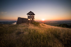 Wooden Tourist Observation Tower over a Landscape at Beautiful S Royalty Free Stock Photography