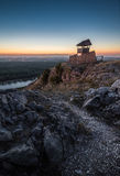 Wooden Tourist Observation Tower over a Landscape at Dusk Royalty Free Stock Photo