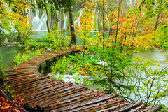Wooden tourist path in Plitvice lakes national park Stock Photo