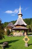 Wooden tower at barsana monastery stock photo