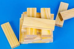 Wooden tower board game. In room stock images