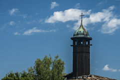Wooden tower on orthodox church Stock Photo